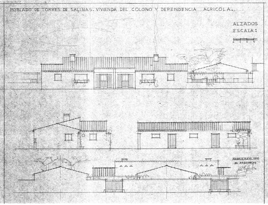 PROYECTO DE PUEBLO TORRES DE SALINAS, ZONA DEL ALBERCHE, TALAVERA DE LA REINA, (TOLEDO). 1951.