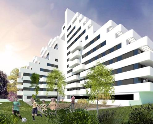 Anteproyecto de edificio de 120 viviendas en la calle de los Astros nº2 . Madrid